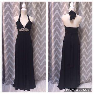 Black Floor-Length Evening Gown Jewel-Encrusted S